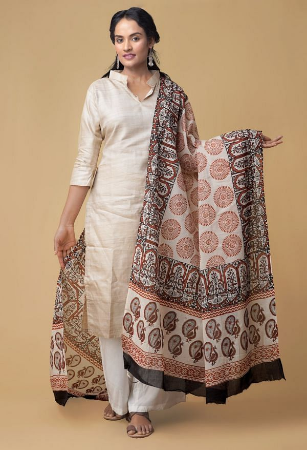 Cream Bagru Printed Pure Mulmul Cotton Dupatta