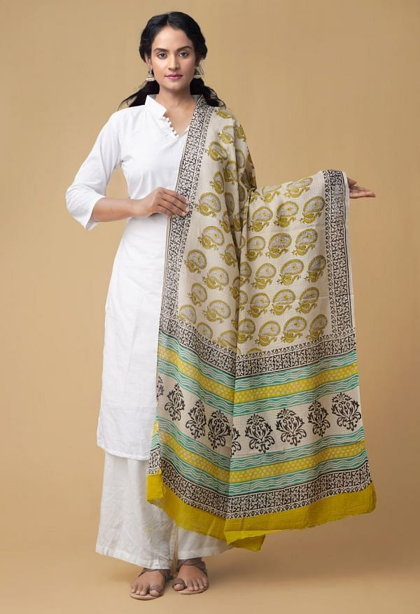 Online Shopping for Cream Bagru Printed Pure Kota Cotton Dupatta with Bagru Prints from Rajasthan at Unnatisilks.comIndia