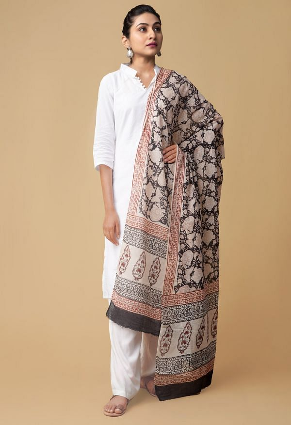 Online Shopping for Black Bagru Printed Pure Kota Cotton Dupatta with Bagru Prints from Rajasthan at Unnatisilks.comIndia