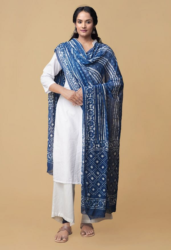 Indigo Blue Dabu Printed Pure Mulmul Cotton Dupatta