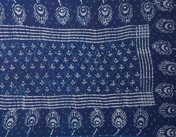 Online Shopping for Indigo Blue Dabu Printed Pure Chiffon Dupatta with Dabu Prints from Rajasthan at Unnatisilks.comIndia