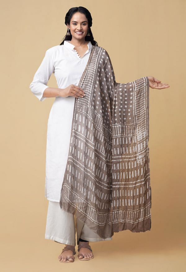 Online Shopping for Grey Dabu Printed Pure Chiffon Dupatta with Dabu Prints from Rajasthan at Unnatisilks.comIndia