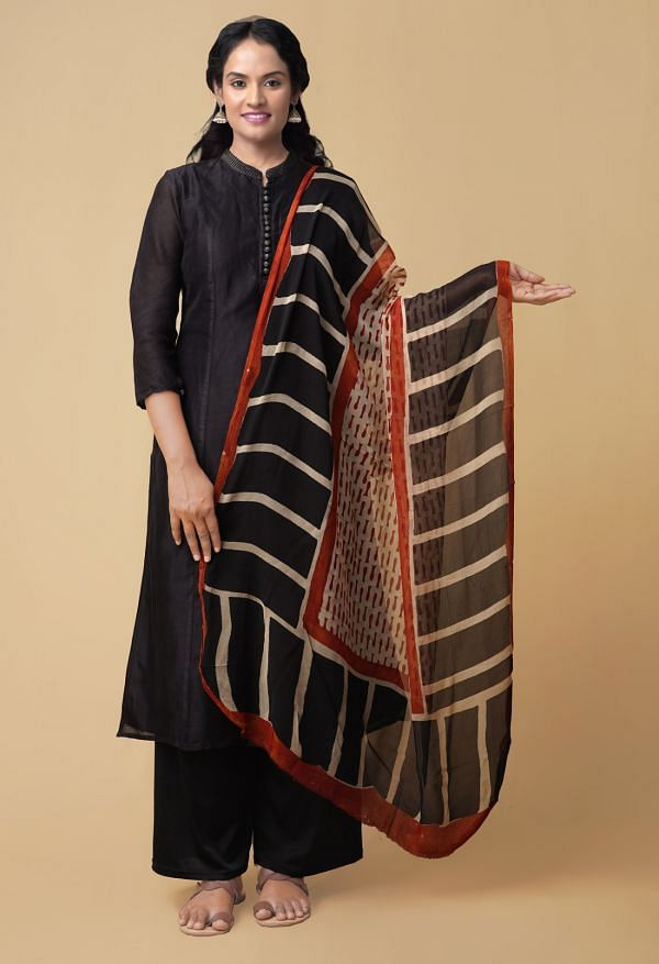 Online Shopping for Cream Bagru Printed Pure Chiffon Dupatta with Bagru Prints from Punjab at Unnatisilks.comIndia