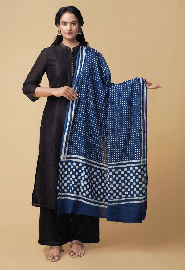 Online Shopping for Indigo Blue Dabu Printed Pure Mulmul Cotton Dupatta with Bagru Prints from Punjab at Unnatisilks.comIndia