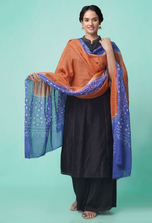 Online Shopping for Brown-Violet Pure Bandhani Cotton Dupatta  with Weaving from Andhra Pradesh at Unnatisilks.comIndia
