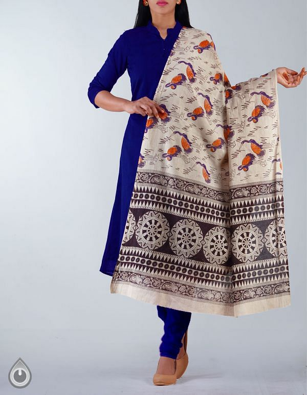 UDS1173-Cream Pure Kalamkari Cotton Dupatta