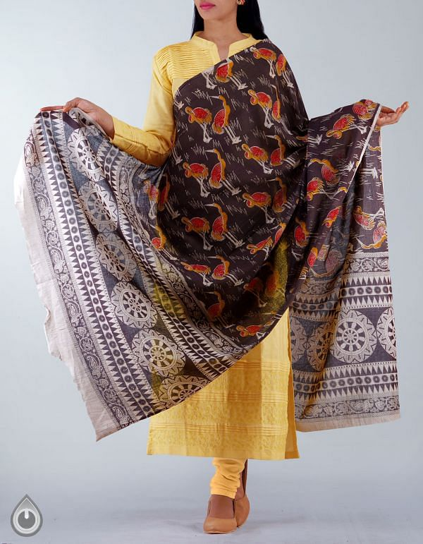 UDS1174-Black Pure Kalamkari Cotton Dupatta