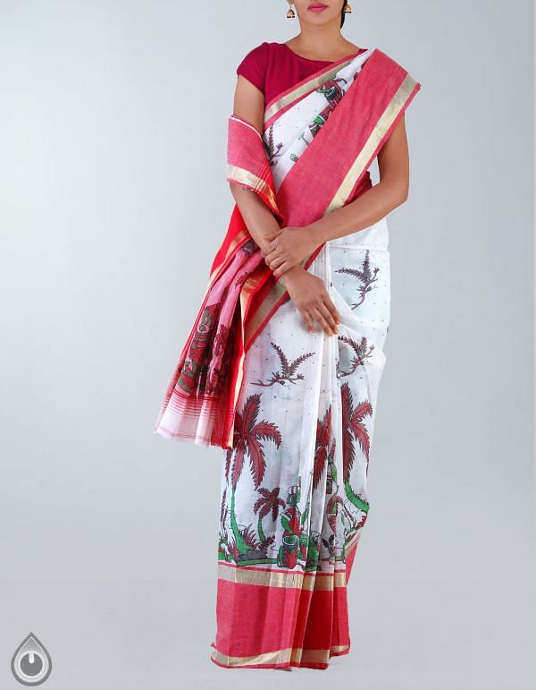 UNM19738-Cream-Red Pure Handloom Bengal Cotton Tant Saree