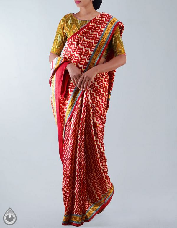 Online Shopping for Red Bengal art Silk Saree with Fancy Prints from West Bengal at Unnatisilks.com, India