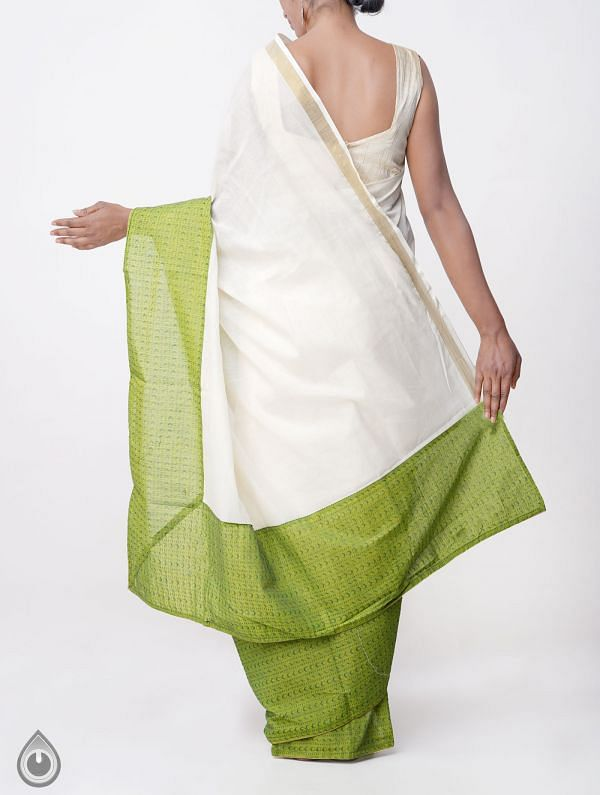 Cream Pure Kerala Cotton Saree-UNMP23199