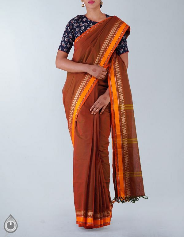 Online Shopping for Orange-Green Pure Handloom Chettinad Cotton Plain Saree with Weaving from Tamilnadu at Unnatisilks.com, India