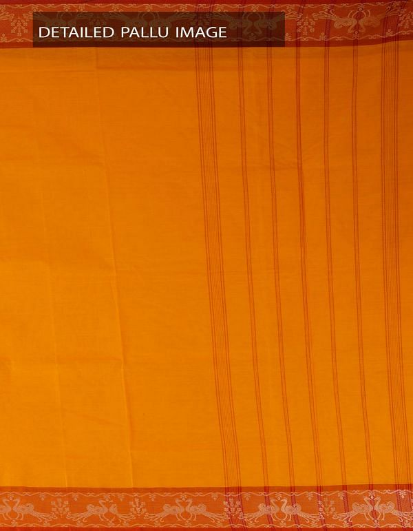 Online Shopping for Yellow Pure Handloom Kanchi Cotton Saree with weaves from Tamilnadu at Unnatisilks.com, India