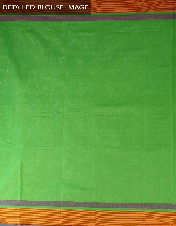 Online Shopping for Parrot Green Pure Handloom Chettinad Cotton Plain Saree with weaves from Tamilnadu at Unnatisilks.com, India