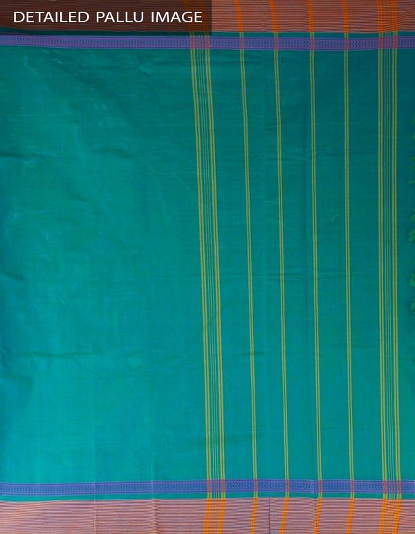 Online Shopping for Green Pure Handloom Chettinad Cotton Plain Saree with weaves from Tamilnadu at Unnatisilks.com, India