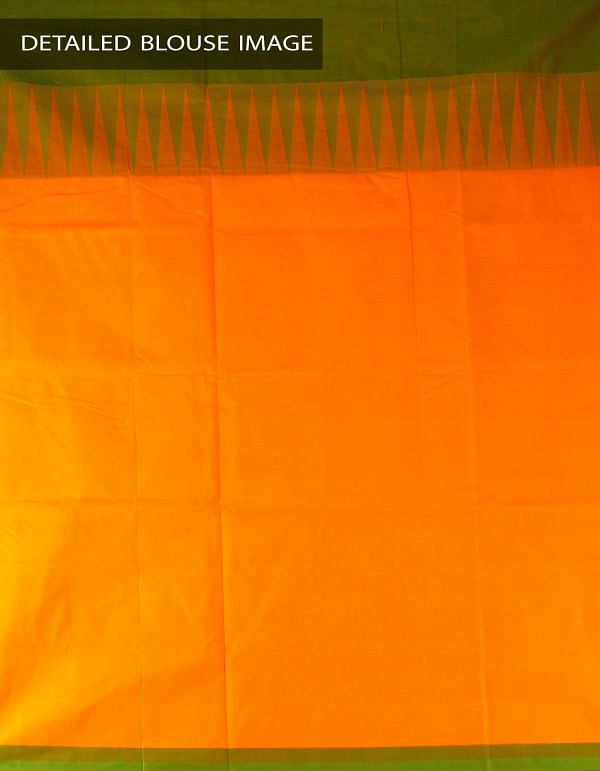 Online Shopping for Yellow Pure Handloom Kanchi Cotton Plain Saree with Weaving from Tamilnadu at Unnatisilks.com, India