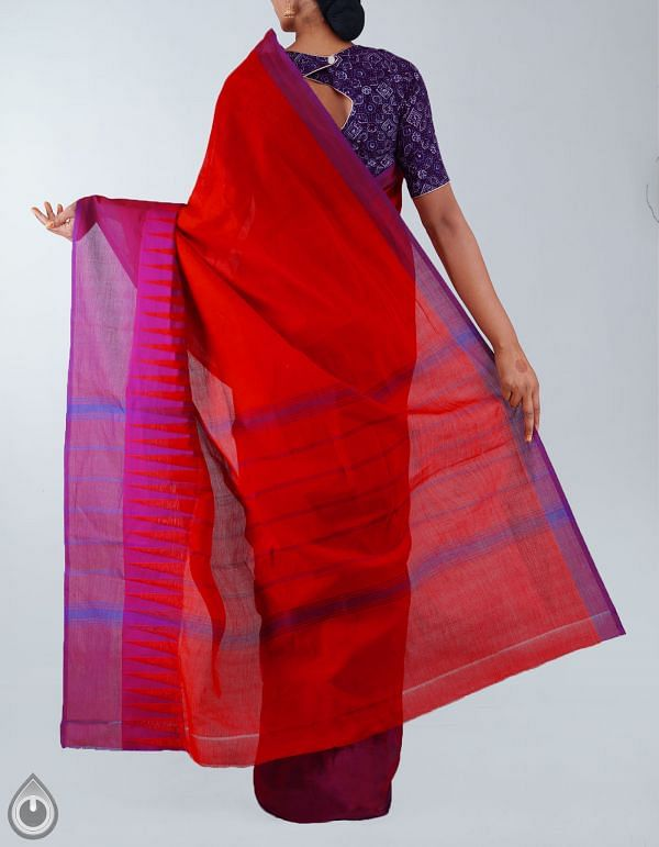 UNM23289-Red Pure Handloom Kanchi Cotton Plain Saree