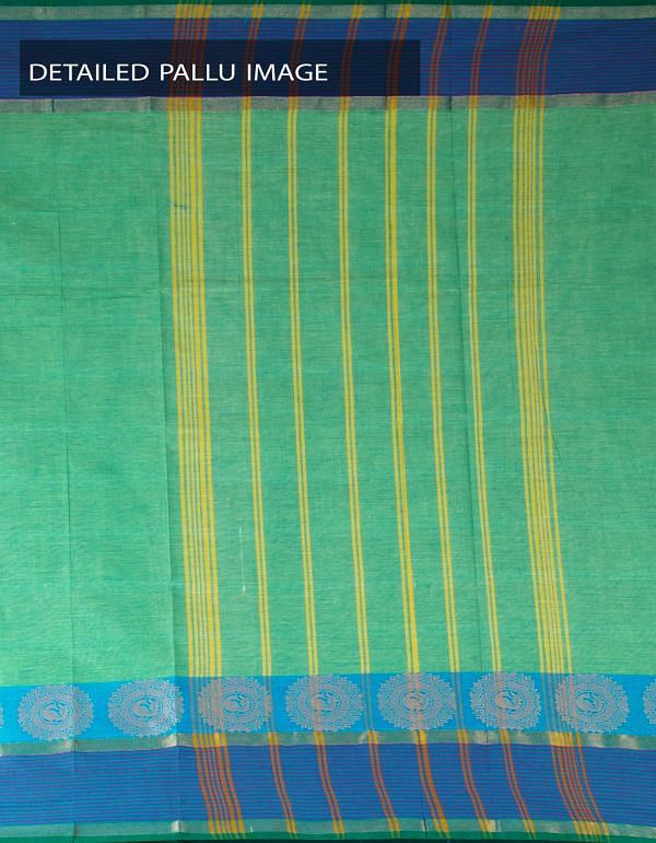 UNM23292-Green Pure Handloom Uppada Cotton Plain Saree