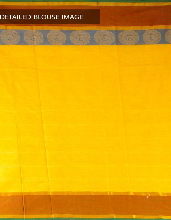 Online Shopping for Yellow Pure Handloom Kanchi Cotton Plain Saree with weaves from Andhra Pradesh at Unnatisilks.com, India