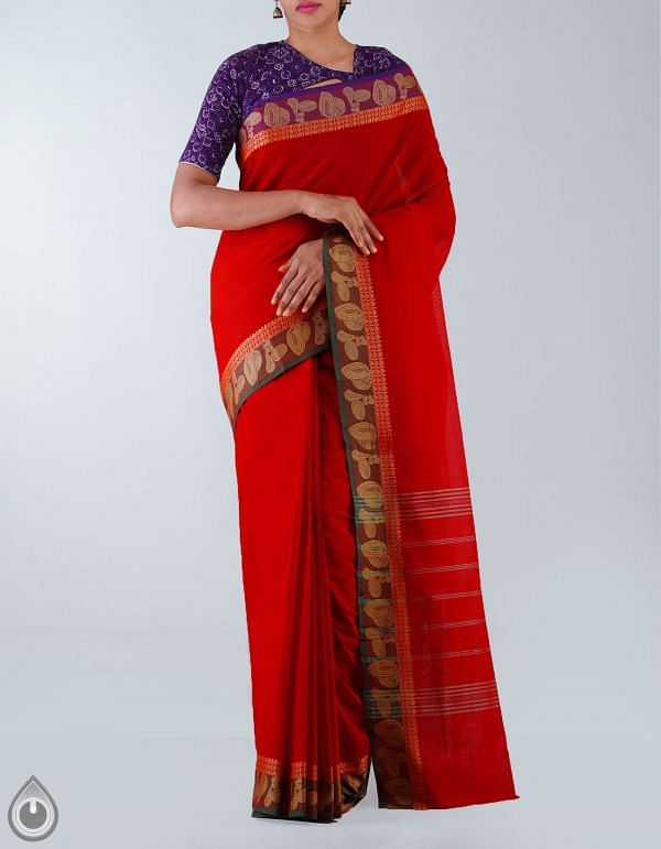 Online Shopping for Red Pure Handloom Kanchi Cotton Plain Saree with weaves from Andhra Pradesh at Unnatisilks.com, India