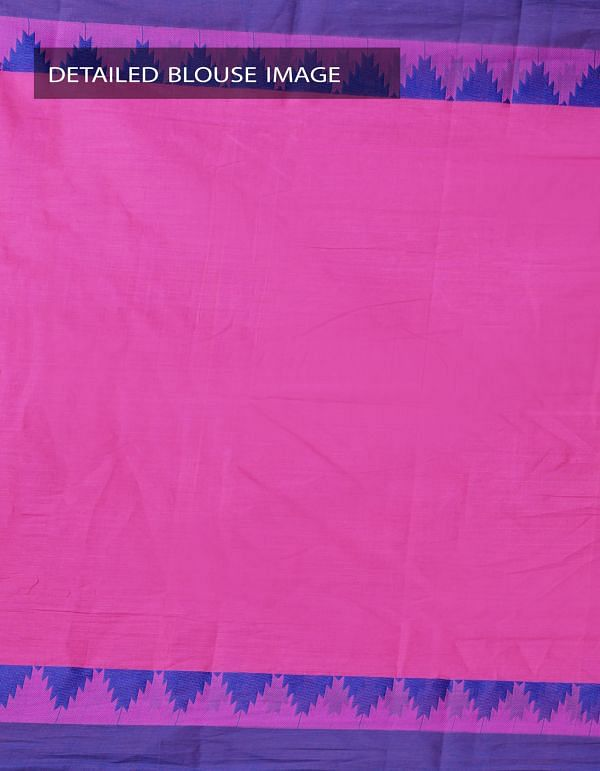 Online Shopping for Pink Pure Handloom Kanchi Cotton Plain Saree with weaves from Tamilnadu at Unnatisilks.com, India