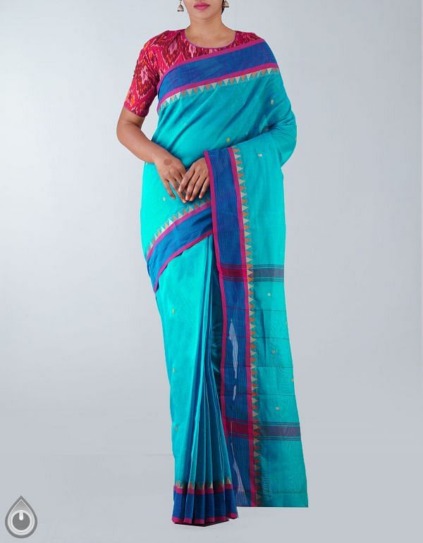 Online Shopping for Blue Pure Handloom Kanchi Cotton Saree with weaves from Tamilnadu at Unnatisilks.com, India