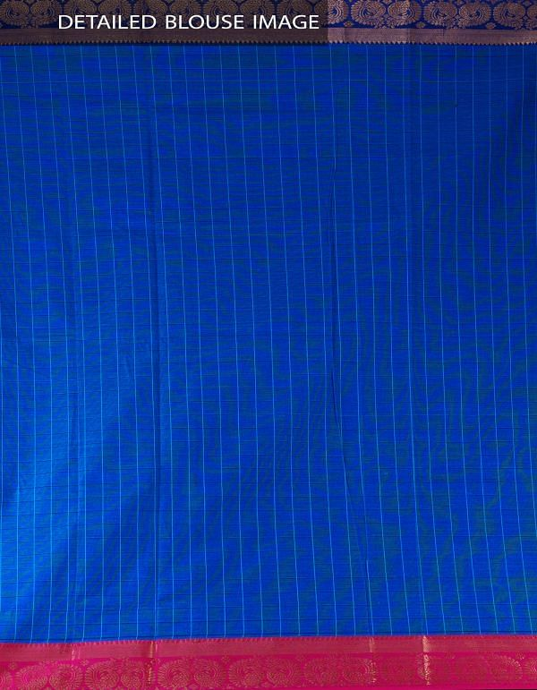 Online Shopping for Blue Pure Handloom Chettinad Cotton Saree with Weaving from Tamilnadu at Unnatisilks.com, India
