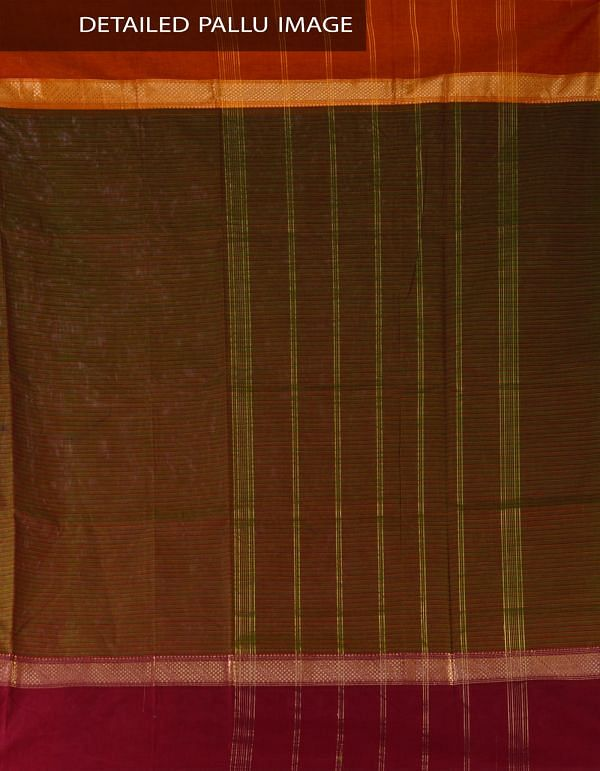 UNM23329-Green Pure Handloom Uppada Cotton Saree