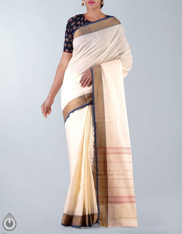 Online Shopping for Cream Pure Handloom Chettinad Cotton Plain Saree with Weaving from Tamilnadu at Unnatisilks.com, India