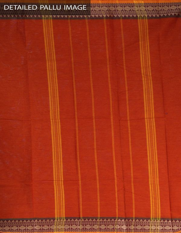 Orange-Yellow Pure Handloom Chettinad Cotton Saree-UNMP23347