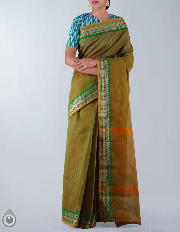 Online Shopping for Green Pure Handloom Chettinad Cotton Saree with Weaving from Tamilnadu at Unnatisilks.com, India