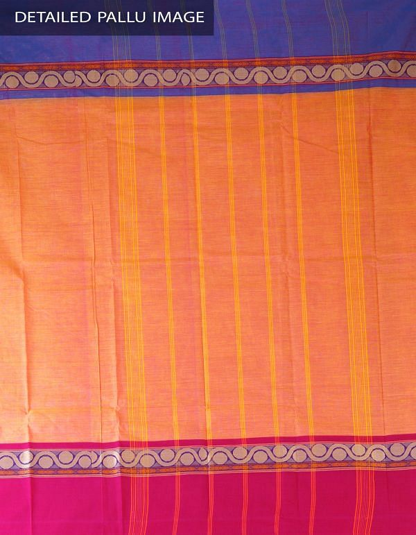 UNM23362-Orange-Pink Pure Handloom Kanchi Cotton Plain Saree