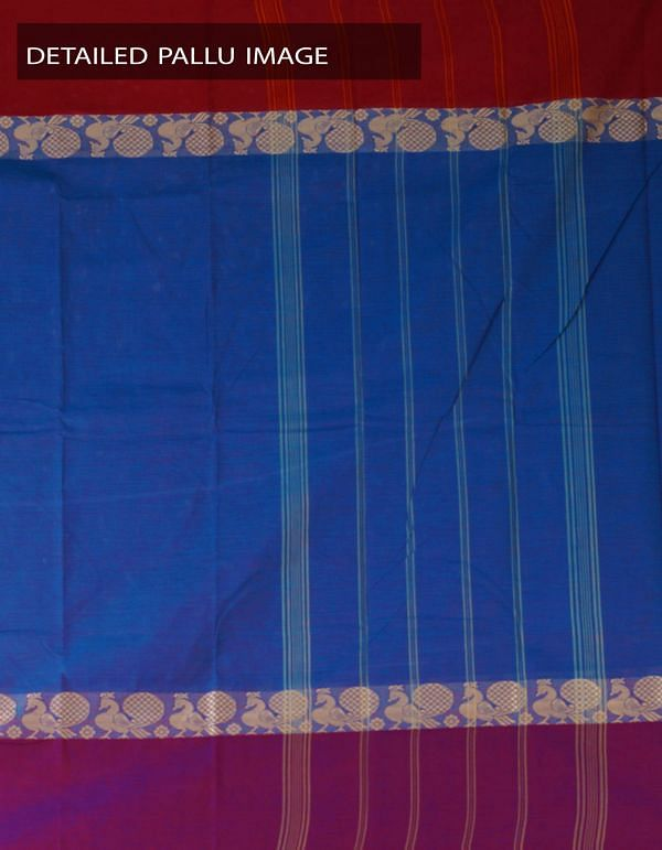 Online Shopping for Peacock Blue Pure Handloom Kanchi Cotton Plain Saree with Weaving from Tamilnadu at Unnatisilks.com, India