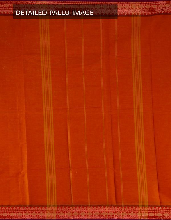 Orange Pure Handloom Chettinad Cotton Plain Saree-UNMP23369