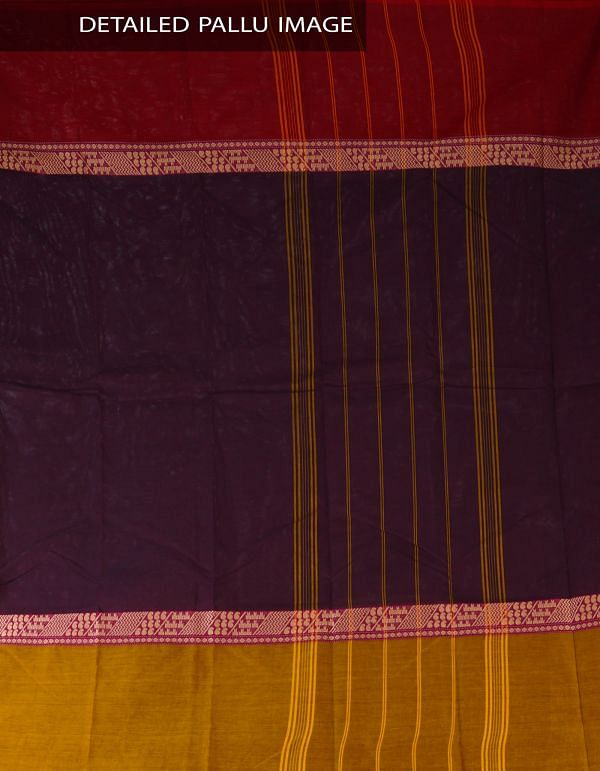UNM23387-Black Pure Handloom Kanchi Cotton Plain Saree