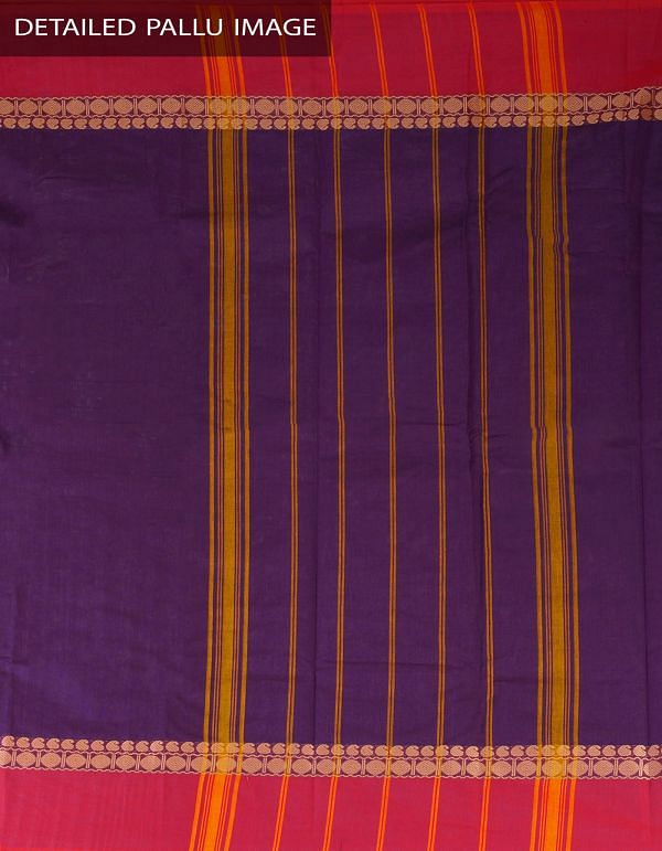 UNM23404-Purple Pure Handloom Kanchi Cotton Plain Saree