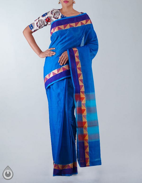 UNM23405-Blue Pure Handloom Uppada Cotton Plain Saree