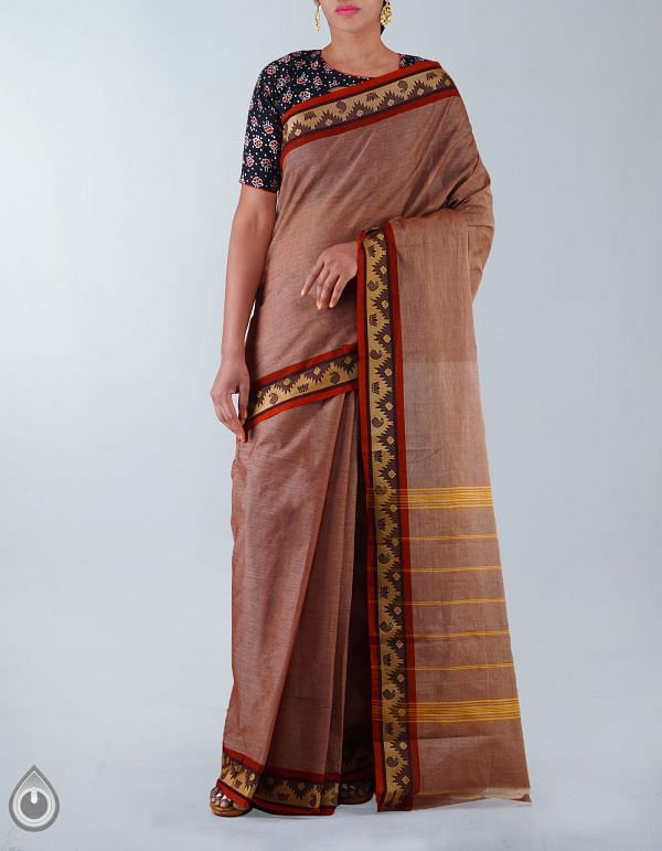 UNM23408-Brown Pure Handloom Uppada Cotton Plain Saree