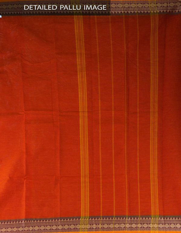 UNM23418-Orange Pure Handloom Chettinad Cotton Saree