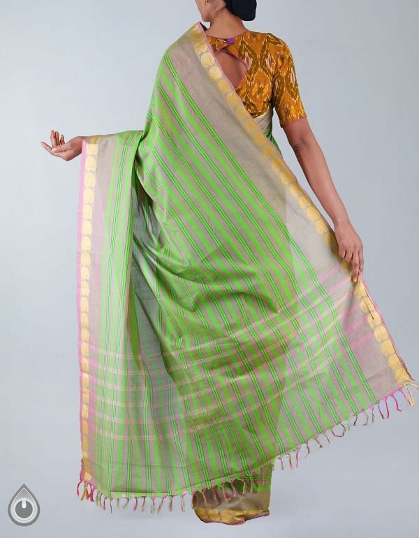 Green-Pink Pure Handloom Uppada Cotton Saree-UNMP23424