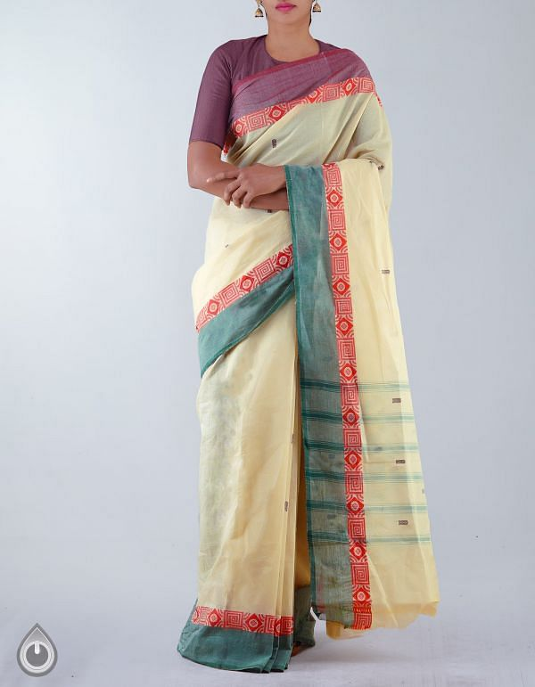 Online Shopping for Cream Pure Handloom Uppada Cotton Saree with weaves from Andhra Pradesh at Unnatisilks.com, India