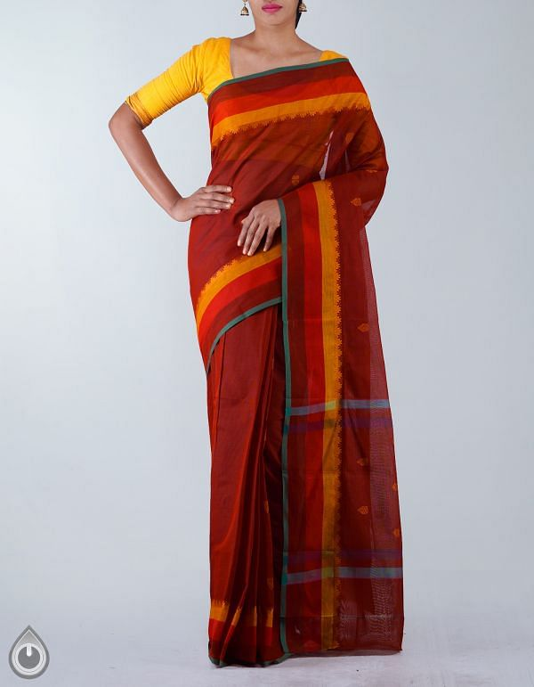 UNM23431-Rust Orange Pure Handloom Uppada Cotton Saree