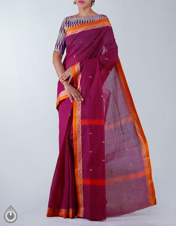 Online Shopping for Purple Pure Handloom Uppada Cotton Saree with weaves from Andhra Pradesh at Unnatisilks.com, India