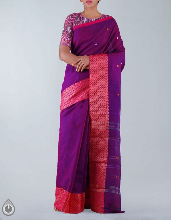 Online Shopping for Purple Pure Handloom Kanchi Cotton Saree with weaves from Tamilnadu at Unnatisilks.com, India