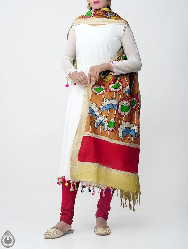 Brown Lotus Kalamkari Hand Painted Pure Cotton Dupatta