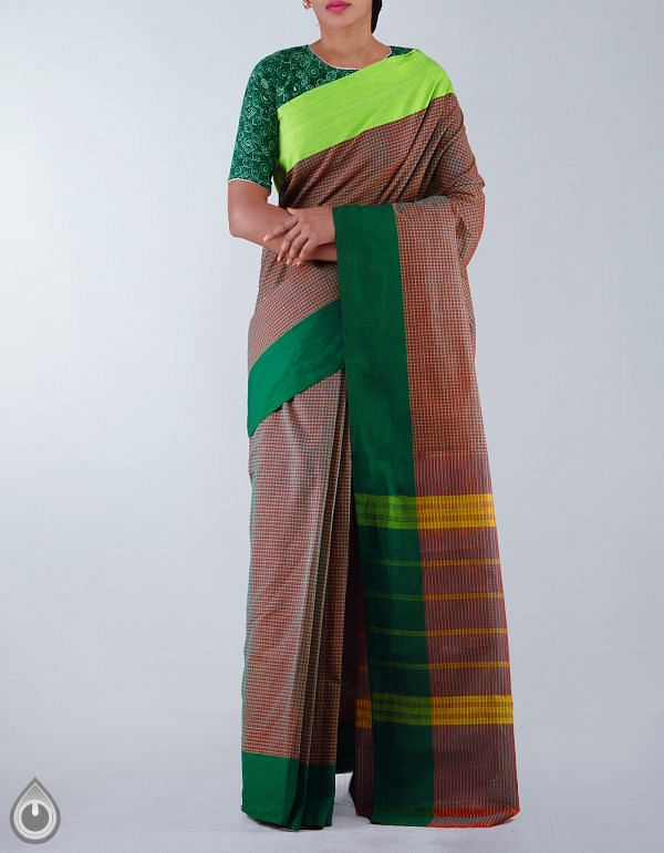 Maroon-Green Pure Handloom Chettinad Gamcha Cotton Saree-UNMP23461