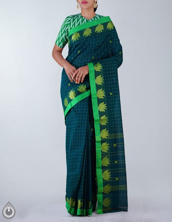Online Shopping for Green Pure Handloom Chettinad Cotton Saree with weaves from Tamilnadu at Unnatisilks.com, India