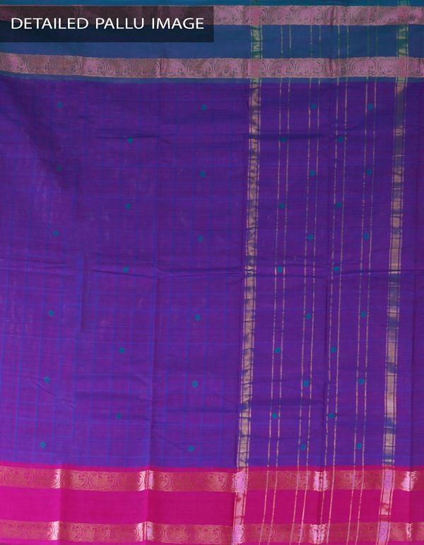 UNM23479-Violet Pure Handloom Uppada Cotton Saree