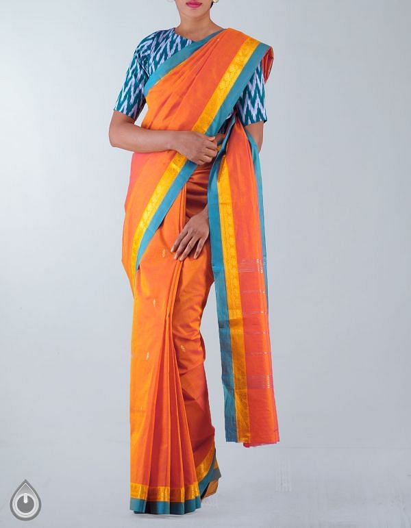 UNM23485-Orange Pure Handloom Uppada Silk Cotton Saree