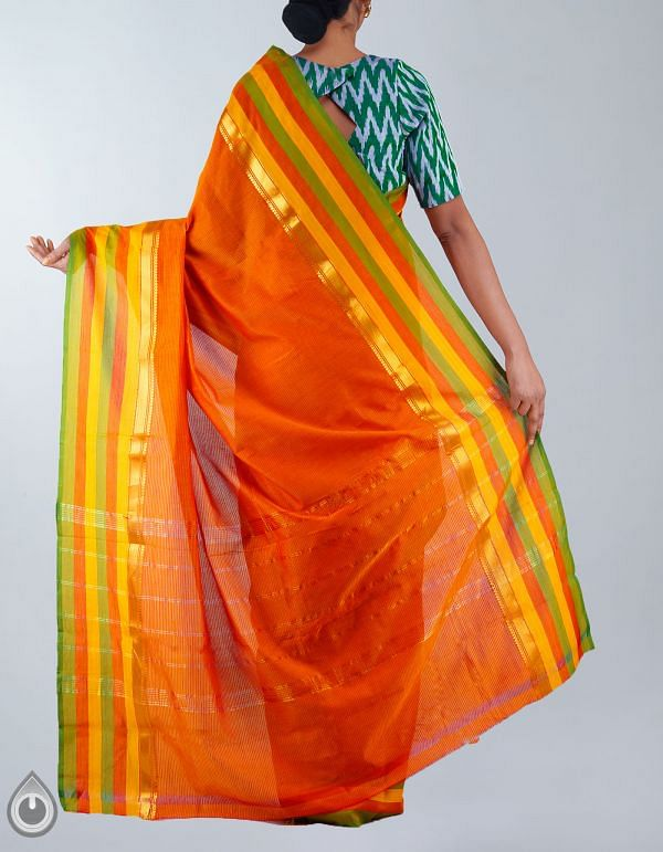 UNM23489-Orange Pure Handloom Uppada Silk Cotton Saree