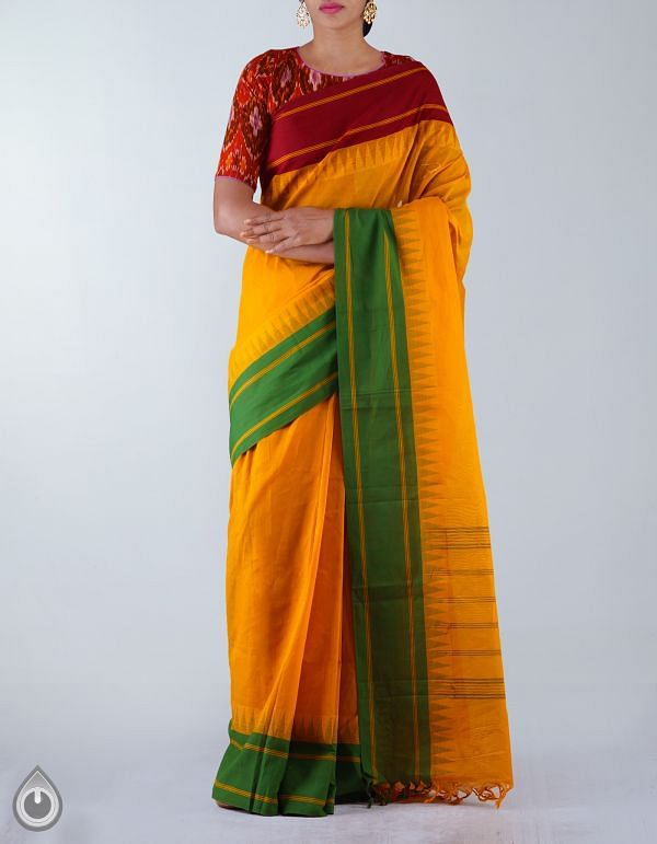Online Shopping for Yellow Pure Handloom Uppada Cotton Plain Saree with weaves from Andhra Pradesh at Unnatisilks.com, India